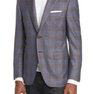 Canali Classic Fit Plaid Wool Sport Coat 50c